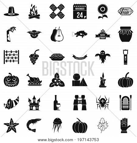 Halloween icons set. Simple style of 36 halloween vector icons for web isolated on white background