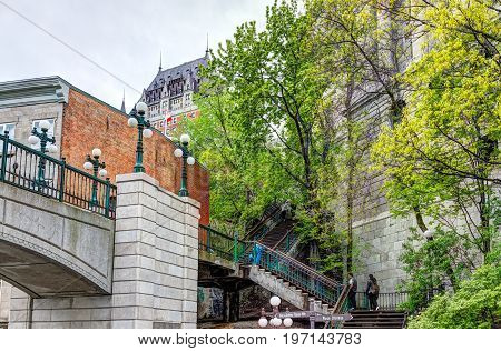 Quebec City, Canada - May 30, 2017: View Of Porte Prescott Bridge And Chateau Frontenac By Old Town