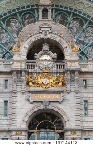 ANTWERP BELGIUM - OCTOBER 2 2016: Baroque interior of the central station with a gold decorated clock