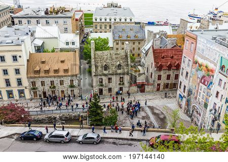Quebec City, Canada - May 30, 2017: Cityscape Or Skyline Of Lower Old Town Buildings With View Of Pa