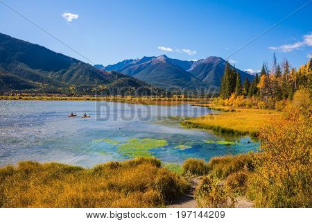 Concept of ecotourism. Lakes Vermilion in Banff. Canadian province of Alberta, the Rocky Mountains. Magnificent sunny day
