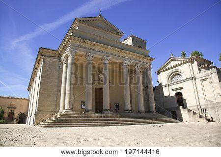 Basilica di San Marino. Catholic church of the Republic of San Marino built in neoclassical style.