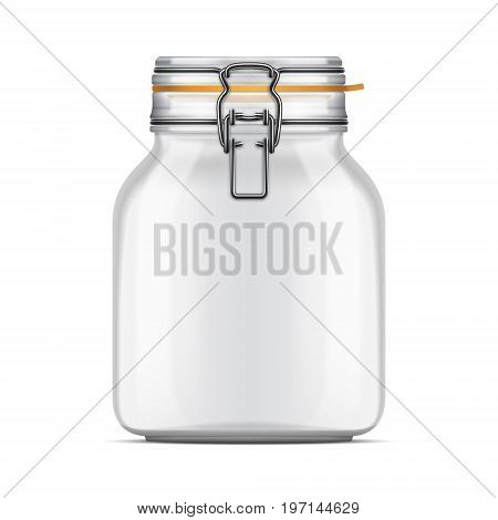 Vector empty Swing Top Bale Jar with a rubber gasket isolated over white background. Realistic illustration.