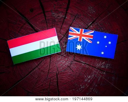 Hungarian Flag With Australian Flag On A Tree Stump Isolated