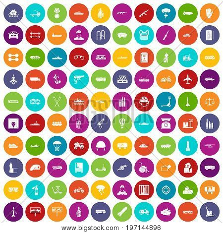 100 burden icons set in different colors circle isolated vector illustration