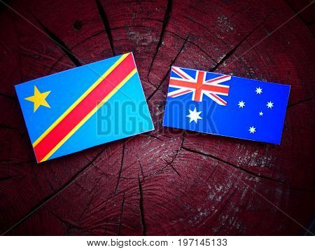Democratic Republic Of The Congo Flag With Australian Flag On A Tree Stump Isolated