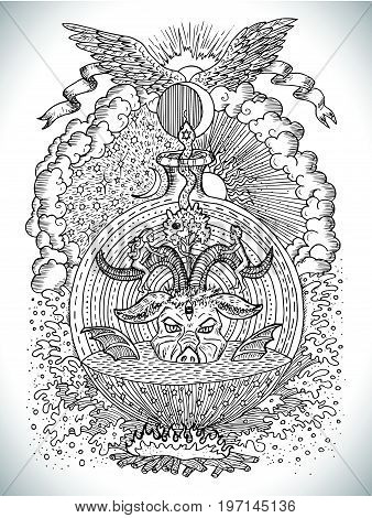Black and white drawing with mystic and christian religious symbols as Devil, Eve and Adam, hell and paradise. Occult and esoteric vector illustration, tattoo concept, gothic engraved background