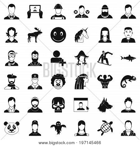 Profile icons set. Simple style of 36 profile vector icons for web isolated on white background