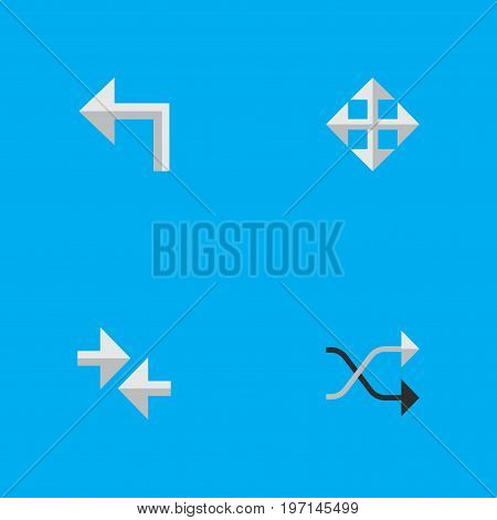 Elements Orientation, Chaotically, Widen And Other Synonyms Resize, Arrow And Widen.  Vector Illustration Set Of Simple Pointer Icons.