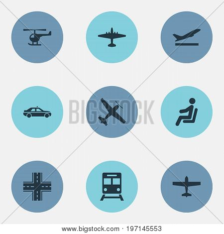 Elements Aero, Cab, Airliner And Other Synonyms Plane, Car And Highway.  Vector Illustration Set Of Simple Transportation Icons.