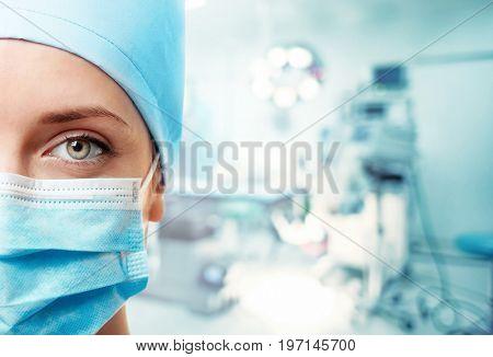 Surgeon at modern operating room, closeup