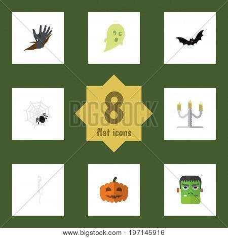 Flat Icon Festival Set Of Spinner, Gourd, Phantom And Other Vector Objects