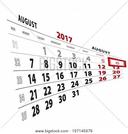 6 August Highlighted On Calendar 2017. Week Starts From Monday.