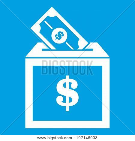 Donation box icon white isolated on blue background vector illustration