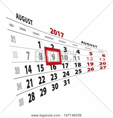 9 August Highlighted On Calendar 2017. Week Starts From Monday.
