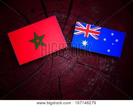 Moroccan Flag With Australian Flag On A Tree Stump Isolated