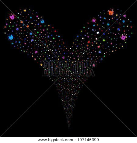 Bug explosive stream. Vector illustration style is flat bright multicolored iconic bug symbols on a black background. Object fountain combined from random design elements.