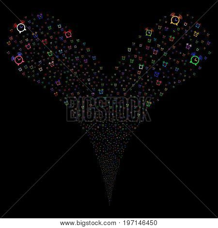 Buzzer fireworks stream. Vector illustration style is flat bright multicolored iconic buzzer symbols on a black background. Object fountain constructed from random design elements.