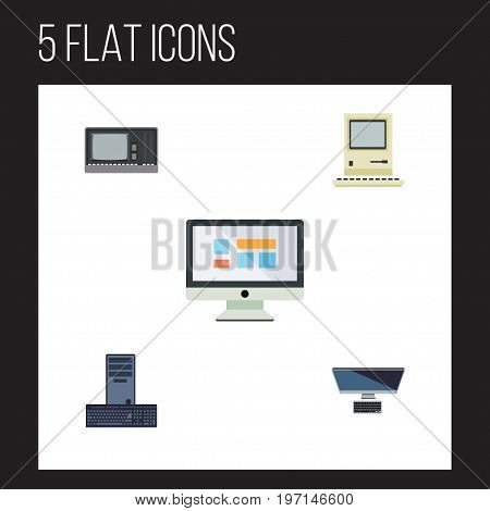 Flat Icon Computer Set Of Display, Processor, PC And Other Vector Objects