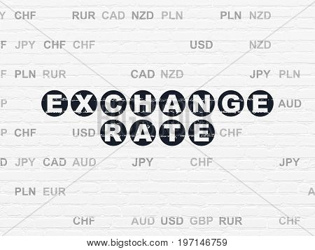 Banking concept: Painted black text Exchange Rate on White Brick wall background with Currency