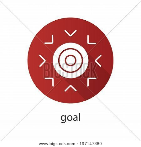 Goal symbol flat design long shadow glyph icon. Purpose abstract metaphor. Vector silhouette illustration