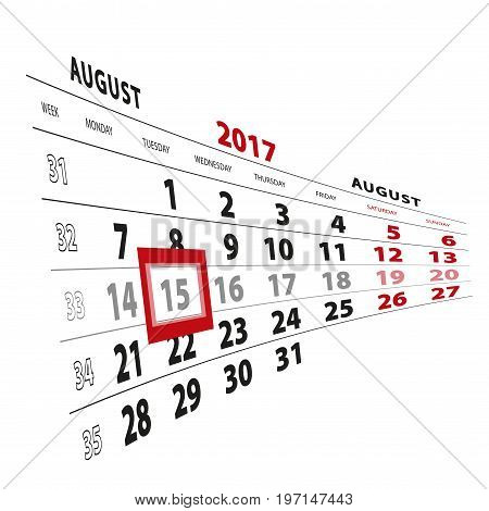 15 August Highlighted On Calendar 2017. Week Starts From Monday.