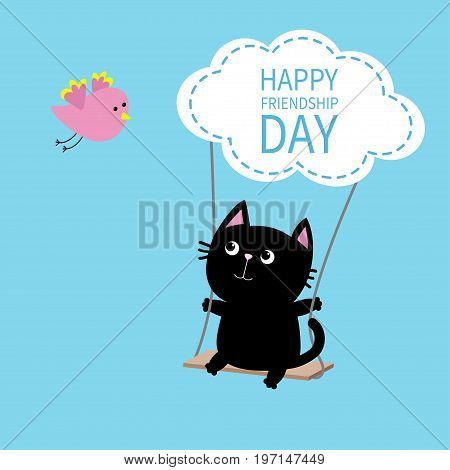 Happy Friendship Day. Cat ride on the swing. Cloud shape. Flying bird. Cute cartoon character. Kawaii baby pet collection. Friends forever. Flat design. Funny kids style. Blue sky background Vector