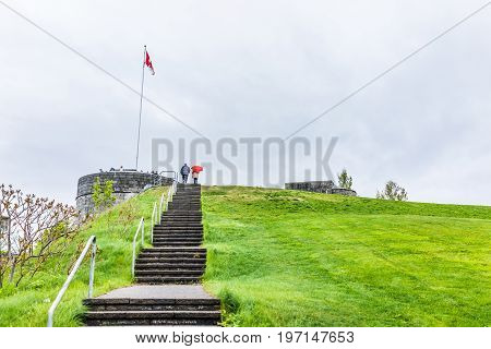 Quebec City, Canada - May 30, 2017: People Climbing Up High Steep Stairs Steps To Top Of Pierre Dugu