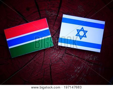 Gambian Flag With Israeli Flag On A Tree Stump Isolated