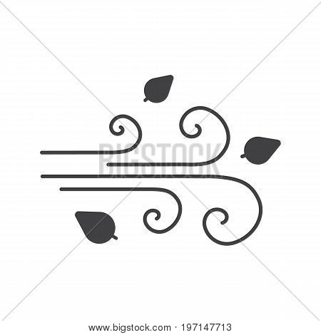 Wind blowing glyph icon. Silhouette symbol. Windy weather. Negative space. Vector isolated illustration