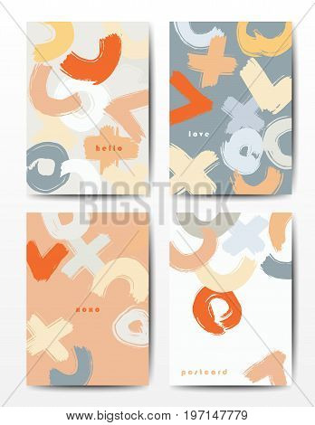 Modern grunge brush postcard template, art vector cards design in rich colors, funny hipster design postcards, doodle circles and ticks