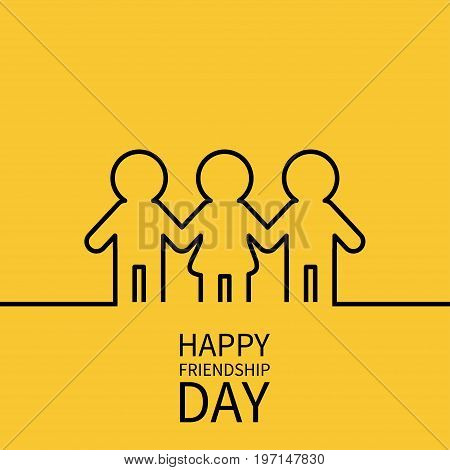 Happy Friendship Day. Two black man male and one woman female silhouette sign symbol. Boys girls holding hands line contour icon. Friends forever. Yellow background Flat design. Vector illustration