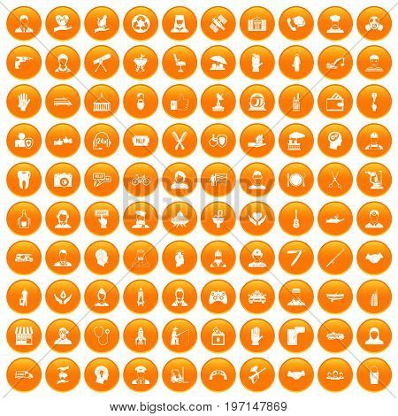 100 human resources icons set in orange circle isolated on white vector illustration