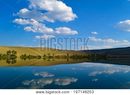 Landscape of calm lake yellow hills and blue sky in Altai mountains. White clouds reflected in water. Chuya prairie Altay Republic Siberia Russia.