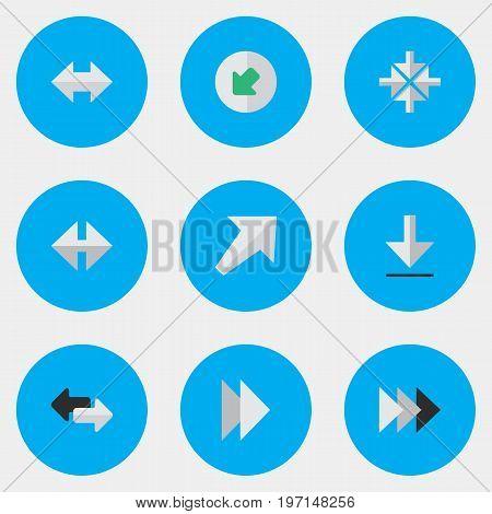 Elements Southwestward, Onward, Northwestward And Other Synonyms Southwestward, Loading And Next.  Vector Illustration Set Of Simple Cursor Icons.