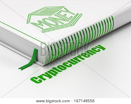 Banking concept: closed book with Green Money Box icon and text Cryptocurrency on floor, white background, 3D rendering