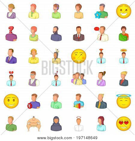 Job icons set. Cartoon style of 36 job vector icons for web isolated on white background