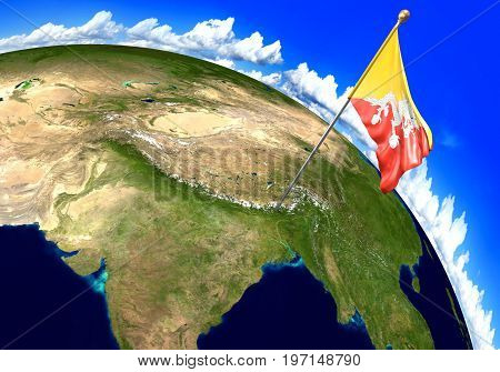 Bhutan national flag marking the country location on world map. 3D rendering, parts of this image furnished by NASA