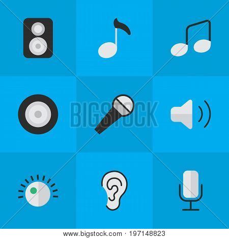 Elements Regulator, Music Sign, Loudness And Other Synonyms Loudspeakers, Record And Mic.  Vector Illustration Set Of Simple Melody Icons.