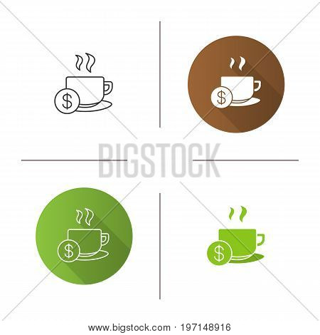 Buy cup of tea icon. Flat design, linear and glyph color styles. Hot steaming mug with dollar sign. Isolated vector illustrations