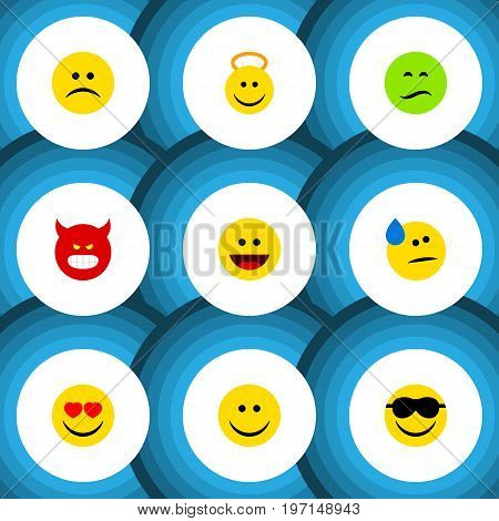 Flat Icon Gesture Set Of Pouting, Laugh, Frown And Other Vector Objects