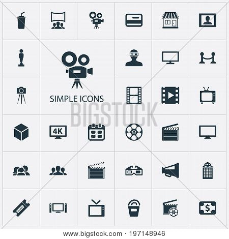 Elements Premiere, Spectator, Negative And Other Synonyms Presenter, Building And Rope.  Vector Illustration Set Of Simple Cinema Icons.