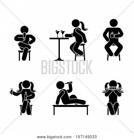 Man people various sitting eating and drinking position. Posture stick figure. Vector seated person icon symbol sign pictogram on white