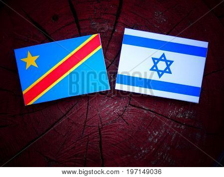 Democratic Republic Of The Congo Flag With Israeli Flag On A Tree Stump Isolated