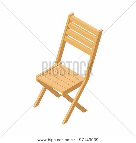 folding wooden chair.furniture for garden and home, folding chair with backrest.vector illustration in isometric isolated from white background