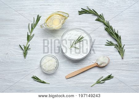 Beautiful composition with shea butter in jar on table