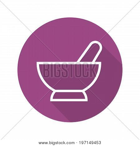 Mortar and pestle flat linear long shadow icon. Naturopathy. Alternative herbal medicine. Vector outline symbol