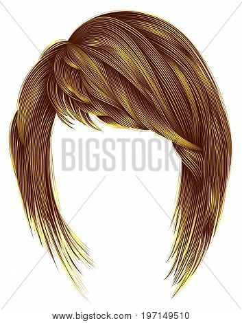 trendy woman hairs bright yellow color. kare with bangs. medium length .fashion beauty style .