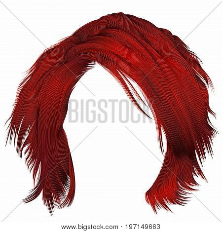 trendy woman disheveled hairs red colors . beauty fashion . realistic 3d