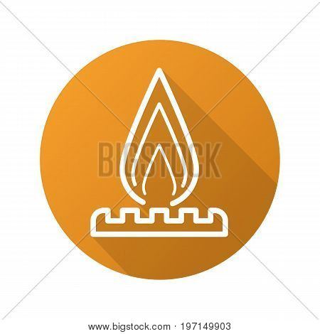 Gas burner flat linear long shadow icon. Vector outline symbol